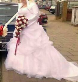 Wedding dress with jacket and vail