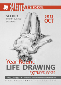 2 uninstructed life drawing sessions (nude model)