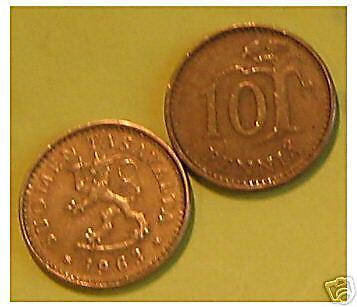 1 x 10 pennia     1963 Finlande