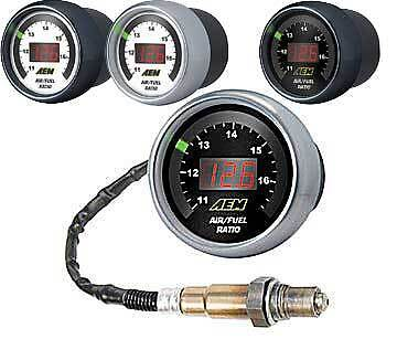 AEM UEGO Digital Wideband O2 Air Fuel Ratio AFR Gauge 6-in-1 WBO2 Kit 30-4100