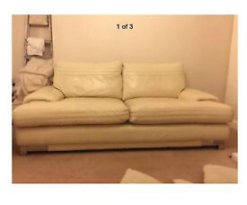 Leather sofa+ 2 matching chairs+ stool
