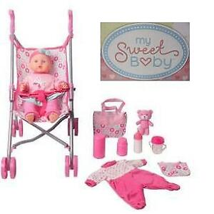 "NEW MY SWEET BABY DOLL STROLLER SET 17104 214218185 14"" INFANT CHILDREN KIDS TOY BLUE"