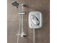 New Triton IPS Satin Chrome Thermostatic Power Shower +Riser AS2000XT Aquasensat white/chromeion