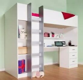 High sleeper with wardrobe and desk 3 months old