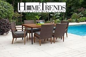 NEW* HOMETRENDS KELOWNA DINING SET 7 PC TABLE 4 ARMLESS CHAIRS 2 ARMREST CHAIRS PATIO FURNITURE DECOR WICKER  97195237