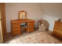 Solid Pine Dressing Table, Stool and Pine Swivel Mirror