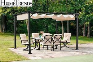 NEW* HOMETRENDS RETRACTABLE PERGOLA Dimensions : 120 in W x 95.9 in D x 86.2 in H  SHADE PERGOLA - PATIO FURNITURE