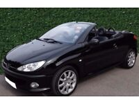 Peugeot 206cc black full leather interior with air con, clean and 1 previous owner, service history