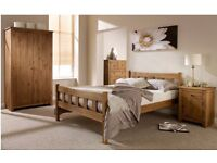 Solid Pine 5ft king size Bed Frame, Aztec Wax finish, with quality Ortho Mattress. Free delivery