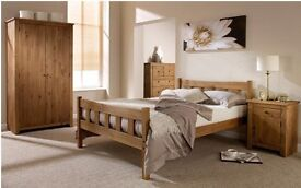 Solid Brazilian pine double bed frame with quality deep quilted mattress. FREE DELIVERY