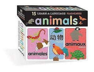 NEW BOX - ANIMALS 15 Learn-A-Language FLASH CARDS - SPANISH CHINESE FRENCH