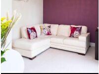 Dfs cream leather corner sofa, smoke and pet free home
