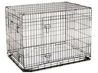 Deluxe XLarge 42 inch 2 Door Folding Dog Puppy Cage with Faux Sheepskin Bed