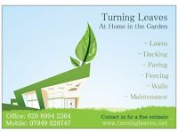 Turning Leaves Gardens Lawns Decking Paving walls Chiswick Hammersmith fencing