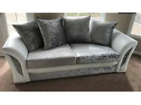 Crushed velvet 3&2 sofas and free footstool