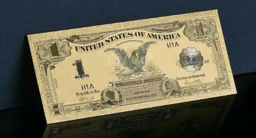 "A ☆<GEM>1899 ""GOLD""$1 SILVER CERTIFICATE BLACK EAGLE  Rep.*Banknote ~Old Style☆s"