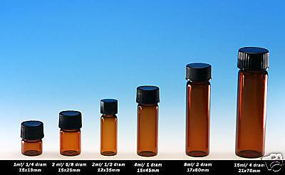 72 Pcs Amber 12 Dram Glass Vials 12x35mmwcaps