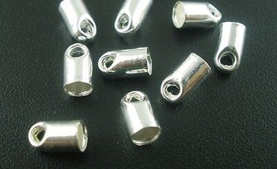 Bullet End Caps (Silver Plated Bullet End-caps for up to 3mm Cord or Ribbon)