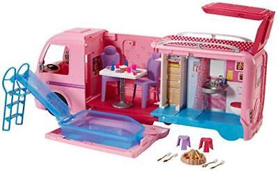 Barbie FBR34 ESTATE Dream Camper Pink Pop Out Caravan for Dolls, Accessories Inc