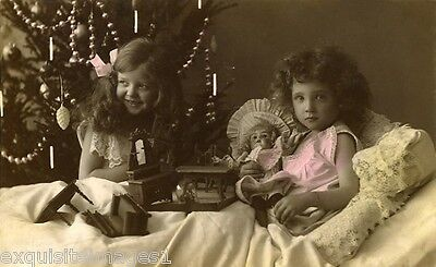 c1900 French Christmas Photo~Girls~Tree~Doll~Dollhouse Furniture~ NEW Note Cards