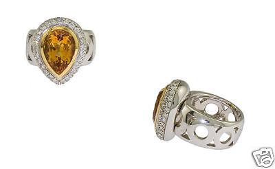 18k Wg Ladies 1.38ct Diamond Citrine Ring