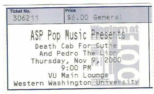 Death Cab For Cutie Pedro The Lion 11/9/2000 Bellingham WA Ticket Stub live show