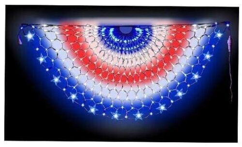 Patriotic Red White Blue American Flag Bunting Net Lights 4th of July Outdoor