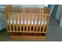 BEAUTIFUL BABY WEAVERS COT WITH UNUSED MATTRESS PLUS DRAW UNDER COT TO STORE CLOTHES ECT
