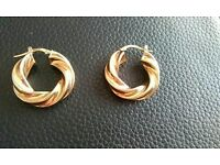9ct gold twist hoop earrings