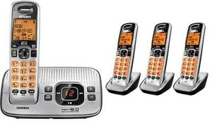 Uniden D1680-4 DECT 6.0 Cordless Phone 4 Handsets, Answering, Speakerphone