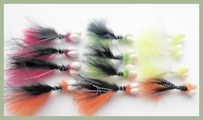 Booby Trout Fishing flies, 12 Pack Future Two Tone Booby, Mixed colour size 10 - Coloured Streamers