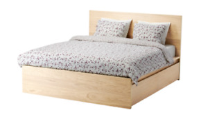 IKEA BED MALM QUEEN WHITE STAINED OAK