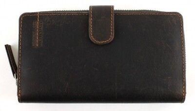 Braune Leder Scheckheft Wallet (GreenLand Westcoast Zip Wallet Geldbörse Portemonnaie Geldbeutel Braun)