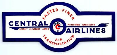 Original  1940S 1950S Vintage Central Airlines Travel Decal Luggage Label