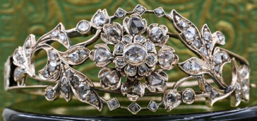6.44ct ROSE CUT DIAMOND ANTIQUE VICTORIAN LOOK 925 SILVER BANGLE BRACELET