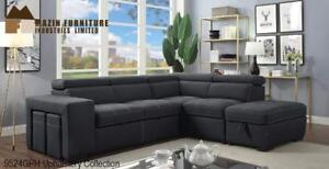 Sectional with pull-out bed and side storage ottomans (MA786)
