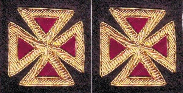 MASONIC PAST GRAND COMMANDERY MALTESE SLEEVE CROSS PAIR HAND EMBROIDERED (ME-080