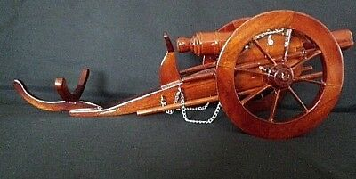 NEW HAND CARVED WOOD ART WINE CHAMPAGNE CANNON BOTTLE MAHOGANY HOLDER DECOR