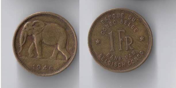 Belgian Congo 1 franc 1946