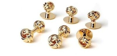 NEW Men's Gold Two Sided Love Knot Cuff Links, Shirt Studs Formal Boxed