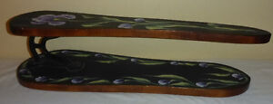 VINTAGE HAND PAINTED WOODEN & CAST IRON SLEEVE IRONING BOARD
