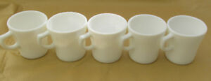 VINTAGE LOT 5 TASSES ANCHOR HOCKING WARE BLANC 6 0Z #912