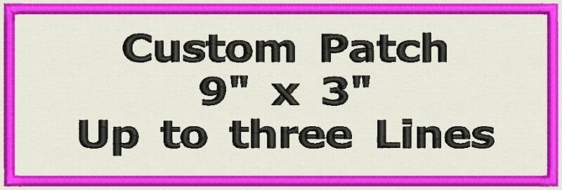 """Name tag, Custom Embroidered Ribbon, Biker Patch Rectangle  9"""" x 3"""""""