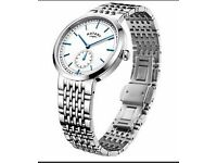 MENS ROTARY TIMEPIECE CANTERBURY SILVER STEEL WATCH GB05060-02 NEW RRP120
