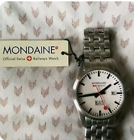 Men's watch: Mondaine day date railway bracelet watch