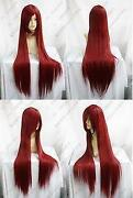 Long Straight Dark Red Wig