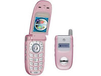Good Condition Motorola V220 Retro Pink Mobile Phone *Unlocked* Giff Gaff Works