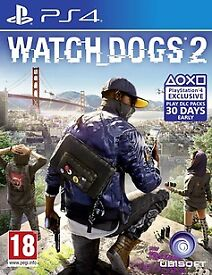 watchdogs 2 , ps4 , as new ! price stands , no offers ! willing to post !
