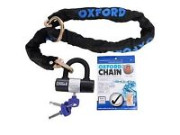 Oxford Chain 8 Cycle Silver Chain Lock With Padlock 8mm x 1.0 Metre Chain