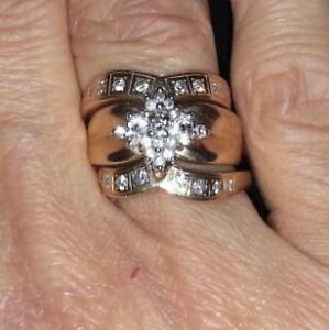 Diamond engagement rings and wedding band